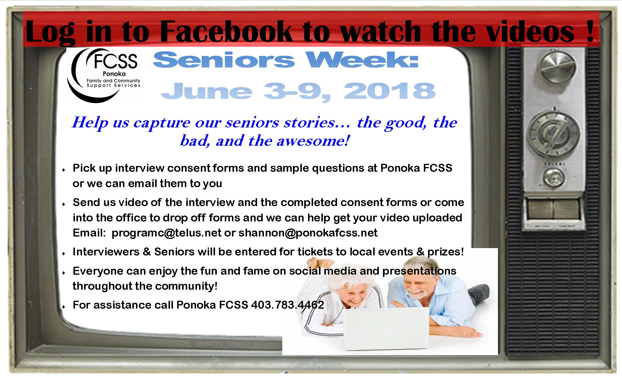 Senior's Week 2018. Contact 403-783-4462 for details.